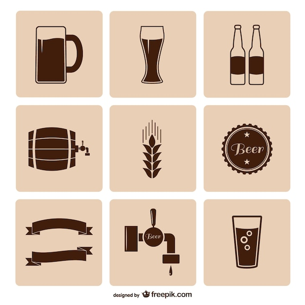 Beer icons pack Free Vector