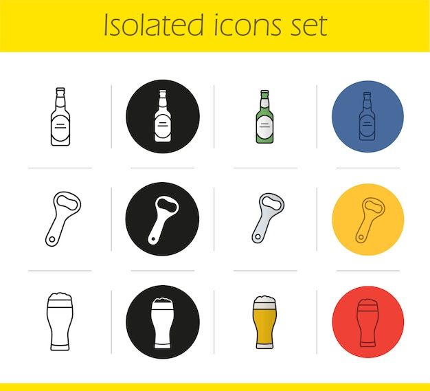 Beer icons set Premium Vector