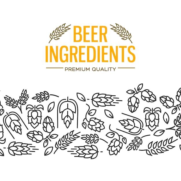 노란색 텍스트와 꽃, 홉 나뭇 가지, 꽃, 맥아의 반복 아래 이미지가있는 맥주 재료 디자인 카드 무료 벡터