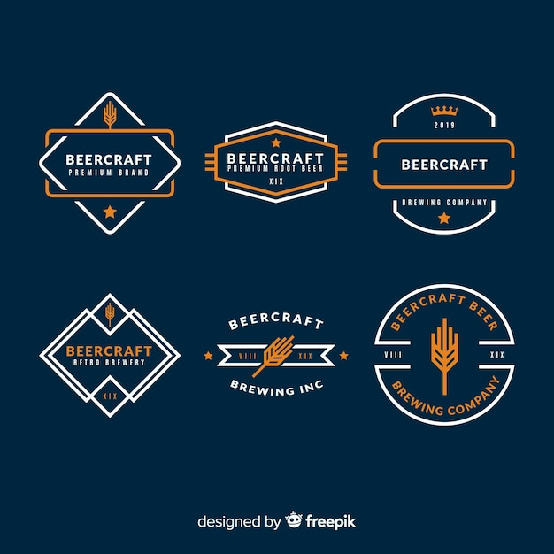 Beer label collection Free Vector