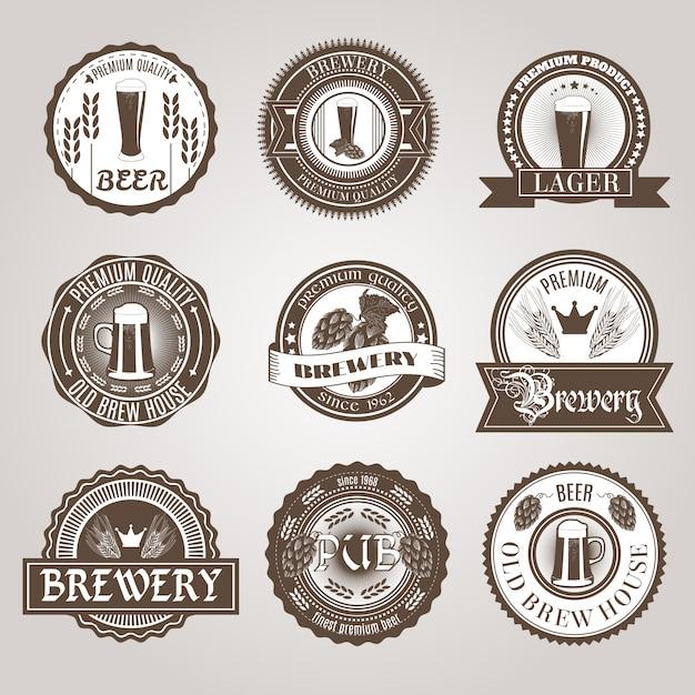 Beer labels set black Free Vector