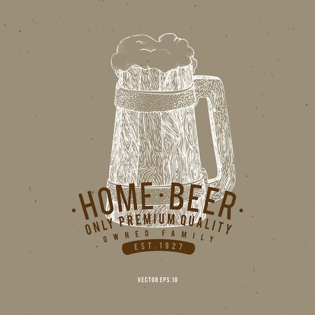 Beer logo template. vector hand drawn beer mug illustration. Premium Vector