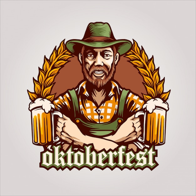 The beer man oktoberfest logo Premium Vector