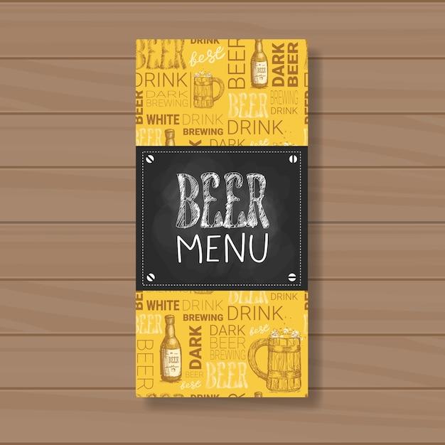 Beer menu design for restaurant cafe pub chalked Premium Vector