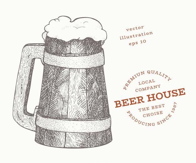 Beer mug illustration. hand drawn vector pub beverage illustration. engraved style. retro brewery illustration. Premium Vector