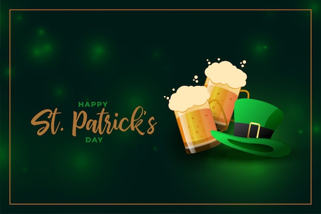 Beer mug and leprechaun hat for st patricks day event Free Vector