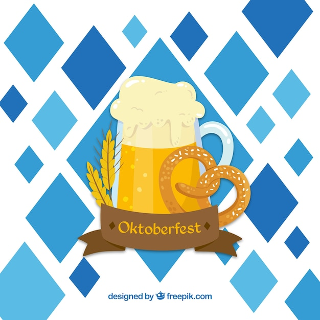 Beer mug, pretzel, wheat and ribbon