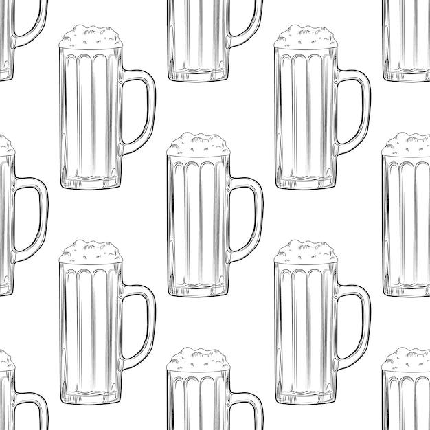Пивная кружка бесшовные модели. полные пивные бокалы с пеной. Premium векторы
