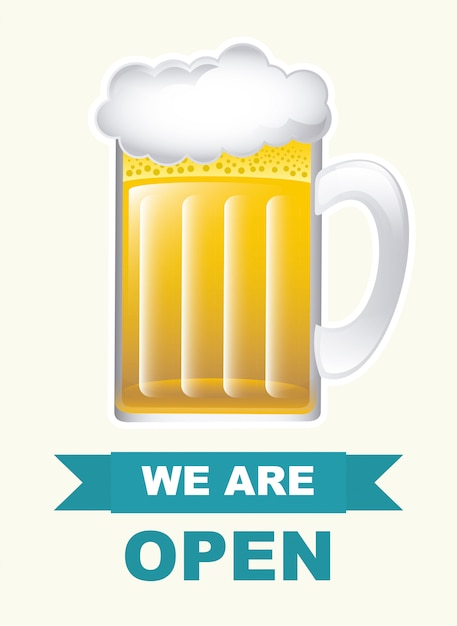 Beer mug over white, we are open Free Vector