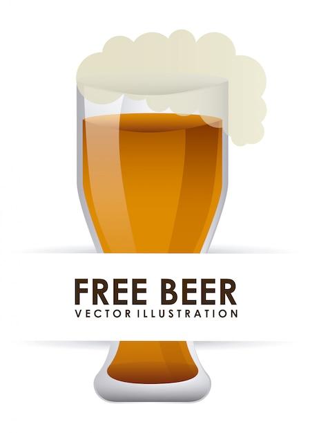 Beer mug over white Free Vector