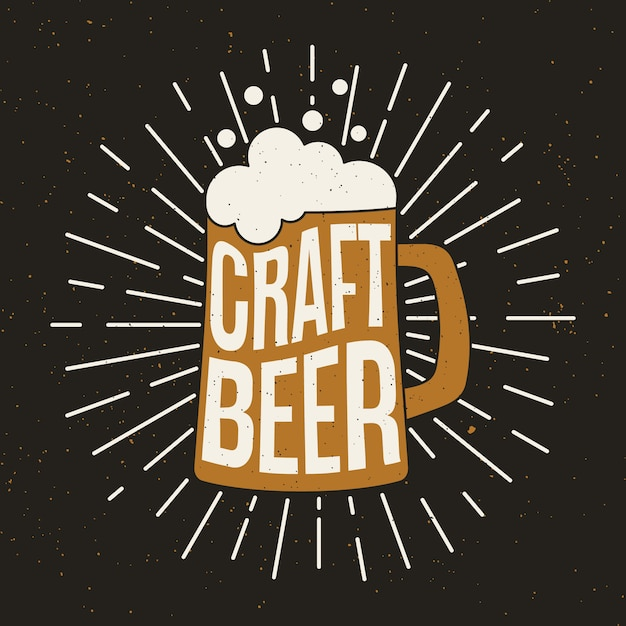 Beer mug with craft beer. Premium Vector