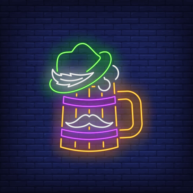 Beer mug with hat and moustache neon sign. Free Vector