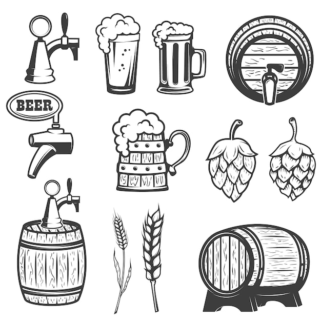 Beer mugs, wooden barrels, hop, wheat.  on white background. Premium Vector