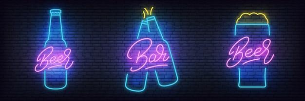 Beer neon set, glowing lettering beer signs for bar, pub Premium Vector