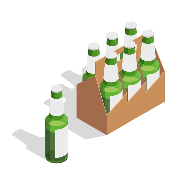 Beer pack isometric composition Free Vector