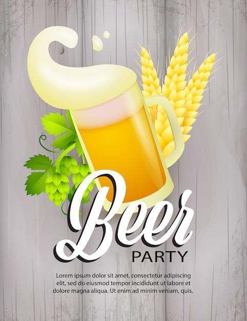 Beer party poster template and mug with foam Free Vector