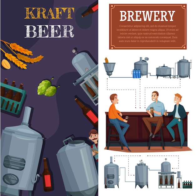 Beer production vertical cartoon banners Free Vector