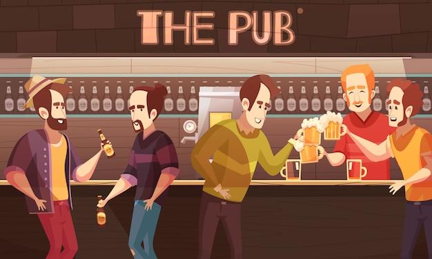 Beer pub illustration Free Vector
