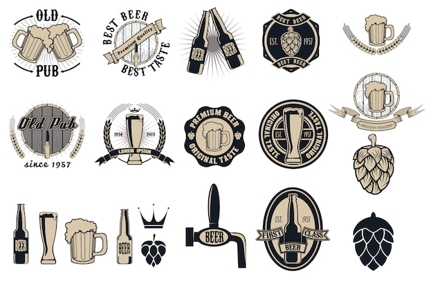 Beer pub labels, badges and icons collection Premium Vector