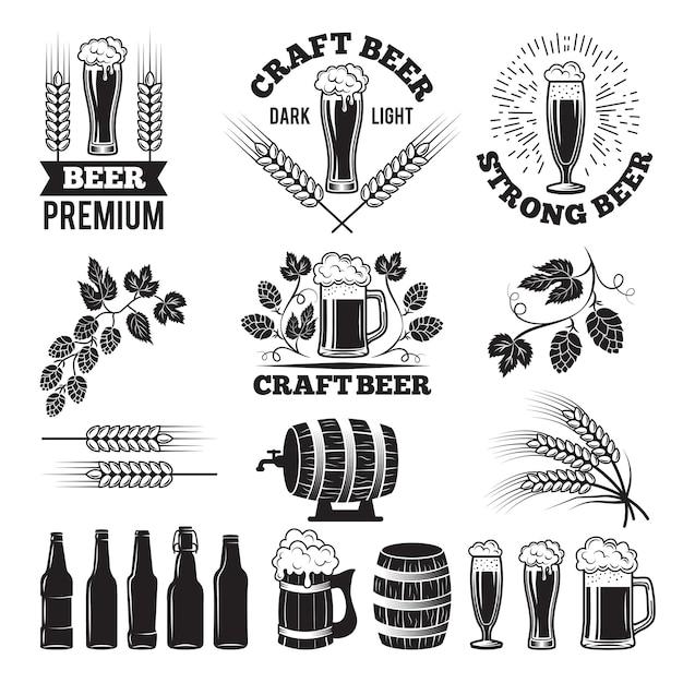 Beer pub labels set. Premium Vector