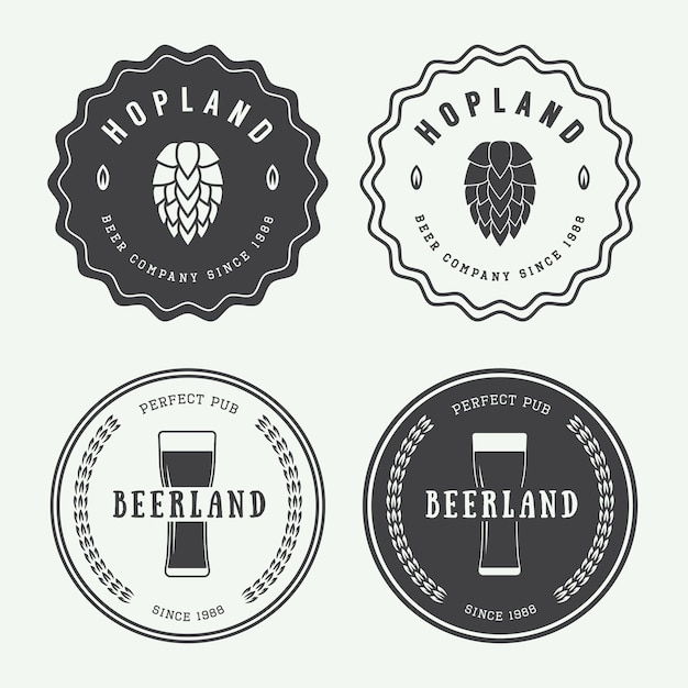 Beer and pub logos Premium Vector