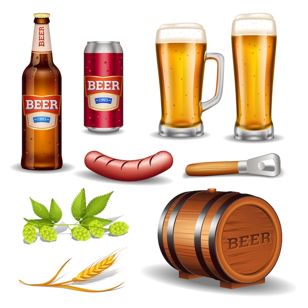 Beer realistic icons collection Free Vector