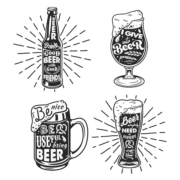 Tipografia legata alla birra. Vettore gratuito