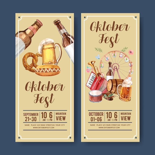 Beer, sausage and musical flyer design Free Vector