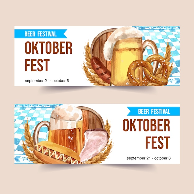 Beer, sausage, pretzel and grilled meat watercolor banner template design Free Vector