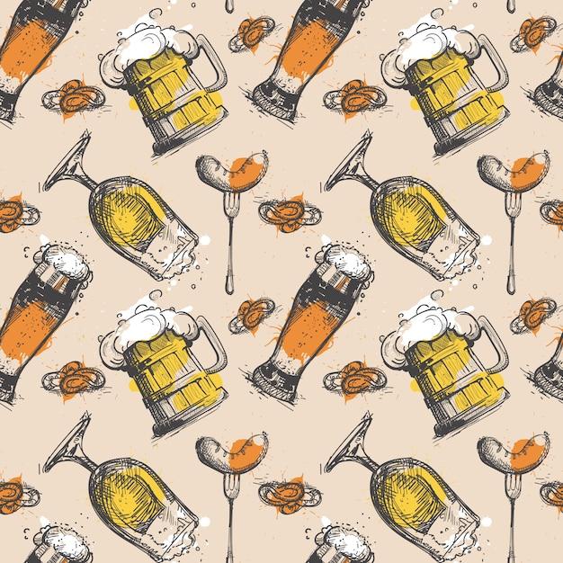 Beer seamless pattern oktoberfest Premium Vector