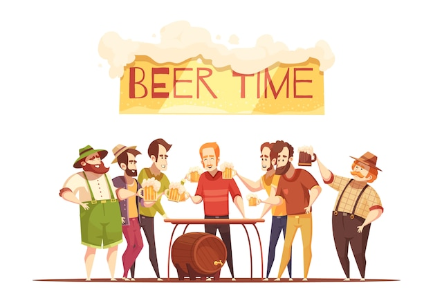 Beer time illustration Free Vector