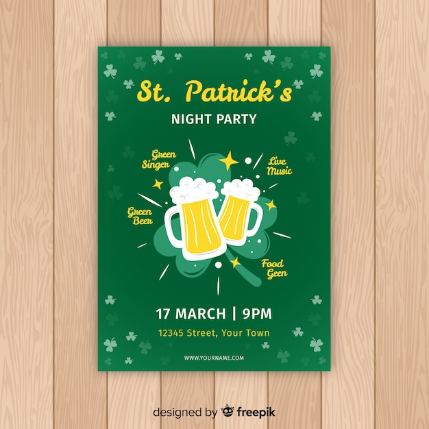 Beer toast st patrick's party poster Free Vector
