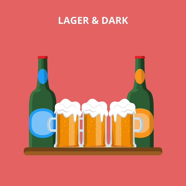 Beer types. lager and dark glasses bottle concept web site  illustration. Free Vector
