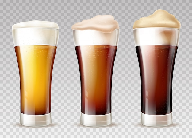 Beer types poured in glasses realistic Free Vector