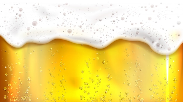 Beer with bubbles and foam background Free Vector