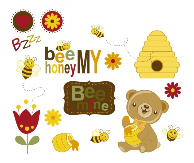 Bees and bear with honey Free Vector