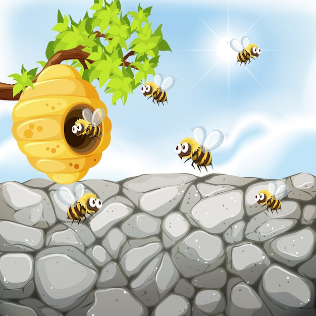 Bees flying around the beehive Free Vector