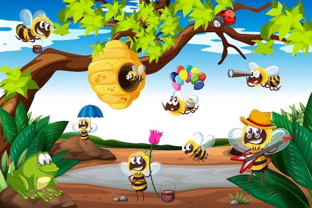 Bees flying around the tree Free Vector