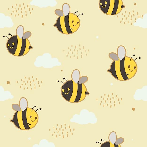 Пчелы летают с облаками и точками Premium векторы