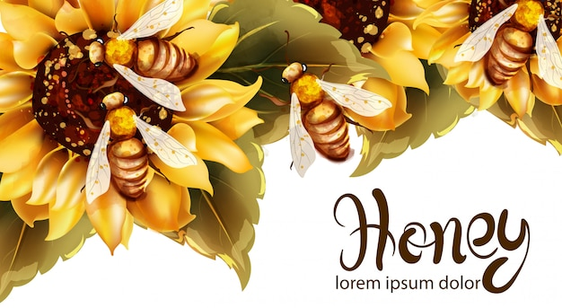 Bees making honey from sunflower watercolor Premium Vector