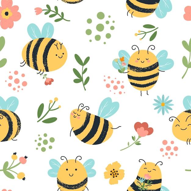 蜂のシームレスなパターンの図 Premiumベクター
