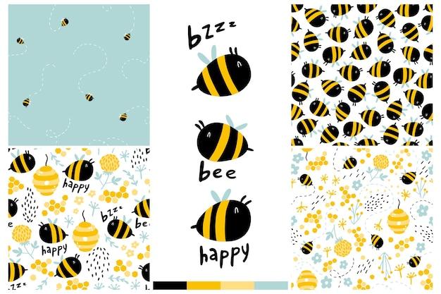 蜂のシームレスなパターンセット。漫画の面白い文字、言葉で幼稚な手描きイラスト。 Premiumベクター