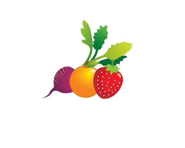 Beets orange strawberry fresh fruits on farmer market Premium Vector