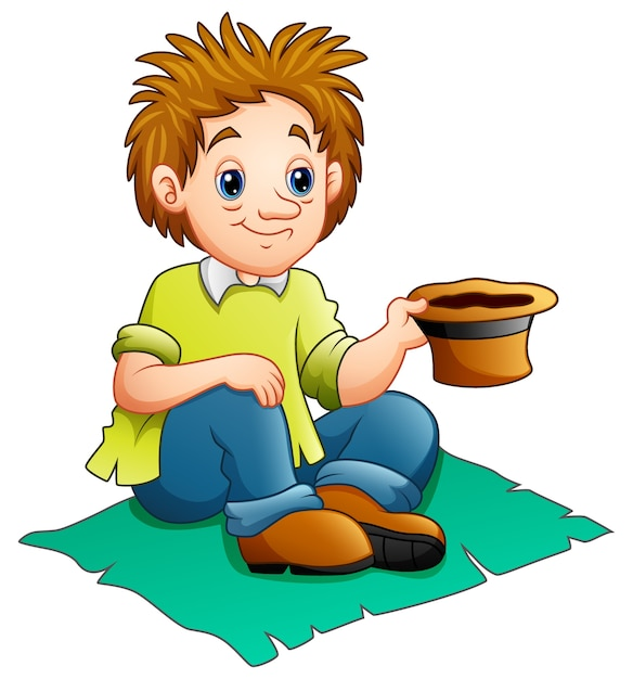 Beggar man cartoon Premium Vector