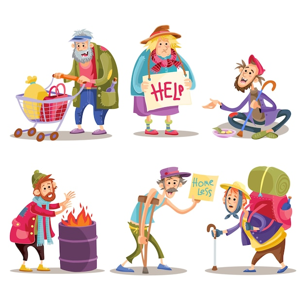 Beggars, homeless, tramps, hobo, funny cartoon set Premium Vector