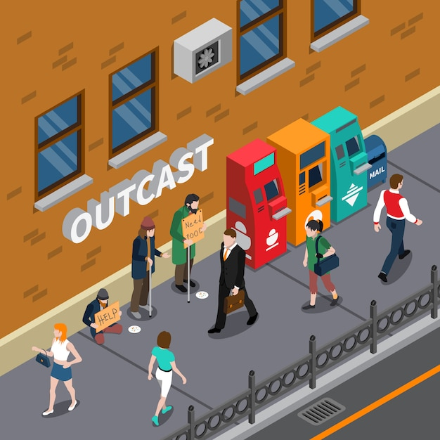 Beggars at street isometric illustration Free Vector