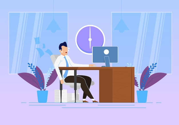Behavior modification at work vector illustration. emotional stress and physical exertion at work Premium Vector