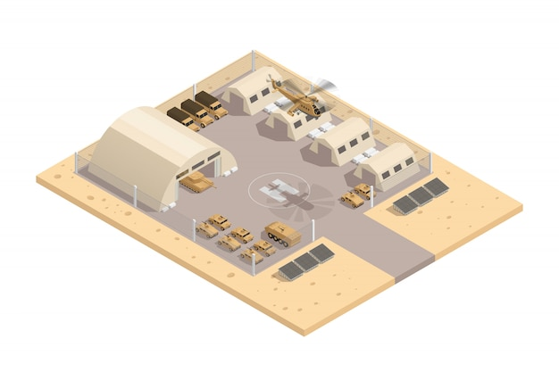 Beige color military isometric composition with with helipad and parking guarded area vector illustration Free Vector