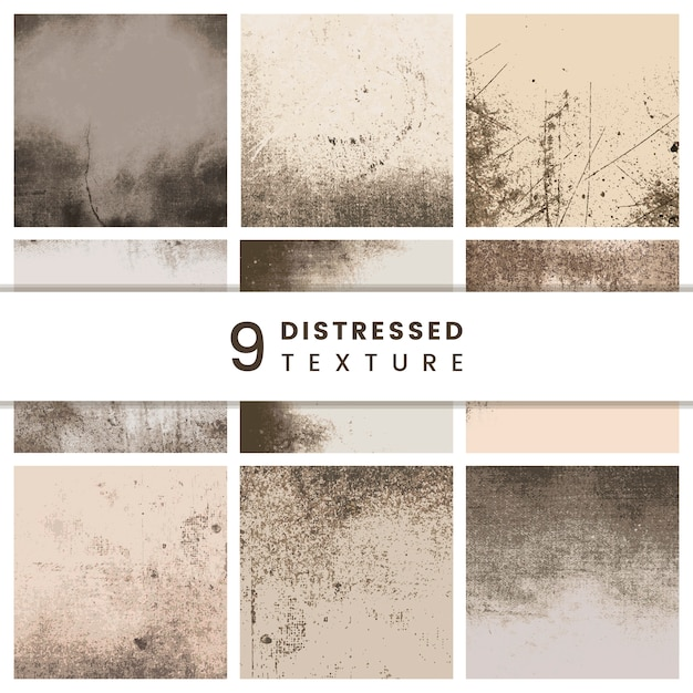 Beige distressed patterns set Free Vector