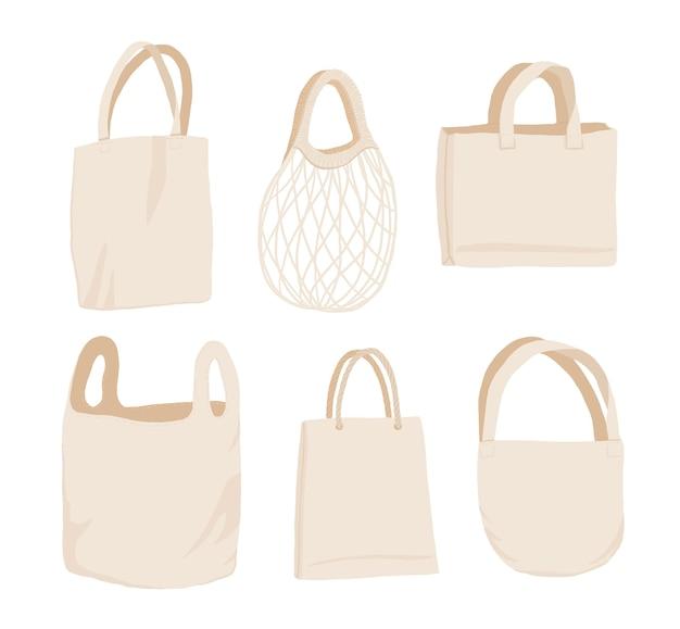 ベージュの布または紙バッグ。 Premiumベクター